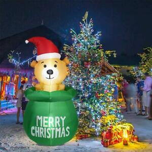 Inflatable Bear Model Cute With LED Lights Yard Outdoor For Christmas Decor