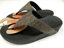 FitFlop Womens Lottie Glitter Stripe Toe-Thongs All Black 9