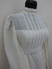 Rare Vintage Mid Century Wedding Ruffle Dress Gown with Train SZ XS size X-SMALL