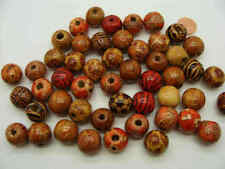 50 Perles Mix Tonneaux bois bambou décorés 15mm marron DIY création bijoux PB64