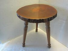 Mid-century Natural Tree Slab Wood Accent Table Stool 3 legs 1960's American Vtg
