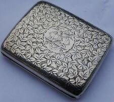Fine Antique English Edwardian Solid Silver Cigarette Case;  Birmingham 1904