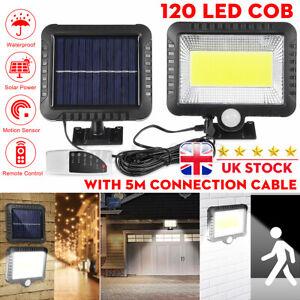 120 LED Solar Power PIR Motion Sensor Lamp Outdoor Garden Security Wall Light UK