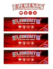 3 Packs Elements Red 1 1/4 Ultra Thin Hemp Rolling Papers w/magnet USA Shipped