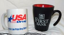 Collectible Advertisement Coffee Mugs USA Drug and First Bank Unique Lot Of 2