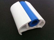 BOAT D FENDER 50MM BASE WHITE WITH BLUE INSERT PVC RUBBING STRAKE (15 MTR ROLL)