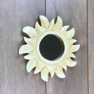 "Sun Wall Mirror - Yellow Golden Solid Wood Frame - 8"" Diameter - Hand Carved"