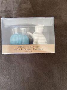 Ceramic Cat and Yarn Salt And Pepper Set