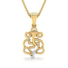 Summer 14K Yellow Gold Finish Diamond Ganesh/Ganesha/Ganpati and Swastik Pendant