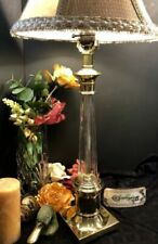 Lamp with Crystal and Brass Vintage Clear glass column Traditional table light