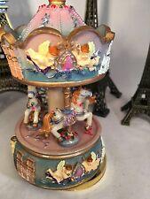 French Vintage Horse Carousel Music Box Clockwork Paris Angel Merry Go Round New