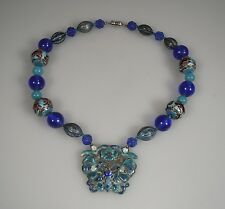 Chinese Silver Enamel & Glass Bead Necklace