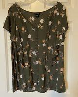 TORRID 108501 Floral Print Gauze Short Sleeved Ruffle Top Blouse Women's Size 1
