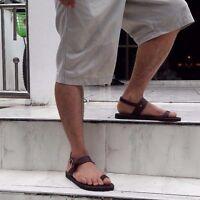 Roman Ring-Toe Ankle Strap Flat Handmade Brown Leather Boho Sandal Women's Men's