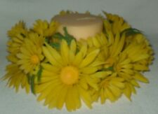 Vintage Yellow Daisy Plastic Candle Ring 9""
