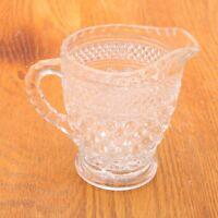 Vintage Clear Glass Creamer Pitcher Diamond Pattern