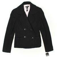 Kenneth Cole Womens Jacket 2 Solid Black Wool Blend Basketweave Coat