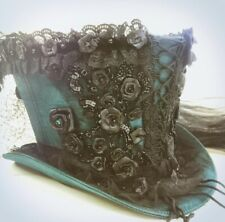 Steampunk Gothic  Bottle Green Top Hat Blk Jewels Braiding Feathers,Size 55,57cm