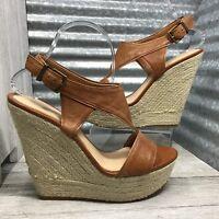 Gianni Bini Women's Leather Brown Straps Slingback Espadrilles Platform Size 9