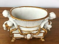 Vintage French Rococo Style Gold Gilded Cherub Porcelain Cachepot [5941]