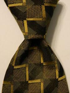 ERMENEGILDO ZEGNA Men's Silk Necktie ITALY Luxury ZIGZAG ARROWS Green/Yellow EUC
