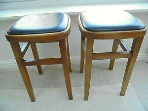 Pair of vintage retro 70s kitchen stools, black vinyl seat, beech, mid century