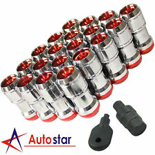 20PCS Red M12X1.5 Extended Dust Cap Steel Wheel Rims Lug Nuts With Lock Key