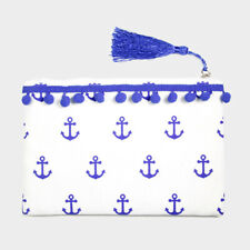 Blue Nautical Anchor Tiny Pom Pom Accent Tassel Pouch Clutch Tote Bag