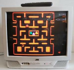 JVC White TV CRT AV-20321 July 2002 Aux Front Input Retro Gaming Vintage Remote
