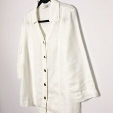 Hot Cotton Blouse White Linen 3/4 Sleeve Boxy Top Lagenlook Button Down Small