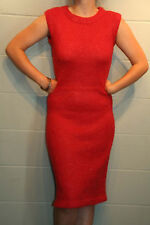 S~M VTG 60s Mohair Red METALLIC SILVER KNIT PENCIL SKIRT SWEATER DRESS