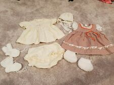 Vintage 1980s Baby Clothes Summer  Dresses Brown Beige 12 months ducklings doll