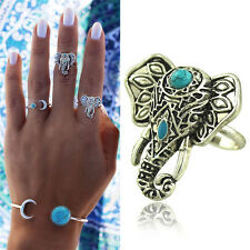 1X Elephant Ring Pretty Punk Rings Boho Carving Silver Plated Knuckle Ring FT