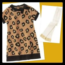 NWT 4T Gymboree RIGHT MEOW cheetah sweater DRESS & FOOTLESS TIGHTS 2pc Set Gold