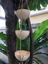 3-tier Coconut Shell Hanging  Basket Flower Pot Plant Holder Bird Balcony Decor