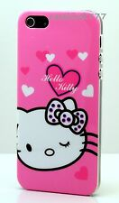 for iphone 5 5s cute kitten hard case polka dot bow white hot pink w/ heart