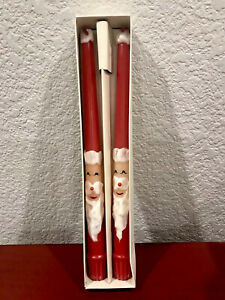 """Vintage Pair of RED SANTA TAPER CANDLES 11.5"""" in Tall JAPAN ~LOVELY~"""