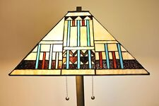 """Tiffany Style Stained Glass Blue Mission Floor Lamp Handcrafted 16"""" Shade"""