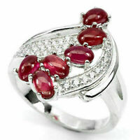 Ring Pink Ruby Genuine Natural Gems Solid Sterling Silver Size Q 1/2 US 8.5