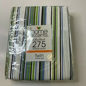 home accents NWTs Twin Sheets 3 piece set cotton blend 275 thread count white