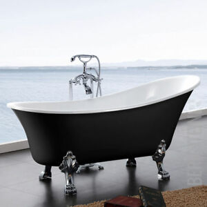 Freistehende Badewanne PARIS ACRYL  176x71 schwarz inkl