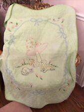 Vtg Baby Blanket Cat Dog Mushroom Hand Stitched Daisy Blue Bows quilt