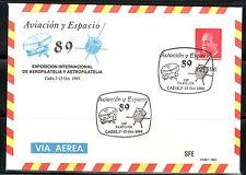 ESPAÑA SOBRE ENT.POST.1989 14 MATASELLADO CADIZ 89 AVIACIÓN Y ESPACIO