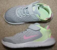 New! Girls Nike Free Run Shoes (Running; No lace to tie! Gray/Pink) - Size 12 C