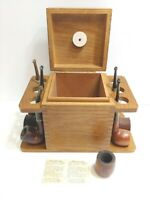 Lot Of 5 Vintage Smoking Tobacco Pipes AND A Wood Pipe Rack Holder Humidor AZTEC