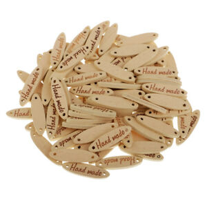 100x Natural Handmade Wooden Buttons 2 Holes Tags Label for DIY Crafts 27mm