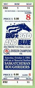 BALTIMORE STALLIONS ~ 1995 CFL Ticket vs Saskatchewan ~ FREE SHIPPING
