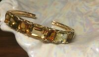 20 ct tw Tonal Multi-gemstone 14k Gold clad over sterling hinged cuff bracelet