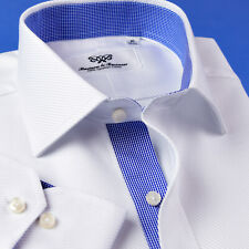 Mens Professional White Twill Formal Business Shirts With Blue mini Check Smart