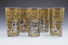 Vintage Gold World Map Tumbler Drinking Glass- Set of 5